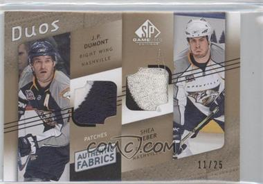 2008-09 SP Game Used Edition - Authentic Fabrics Duos - Gold Patch #AF2-DW - J.P. Dumont, Shea Weber /25