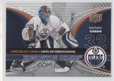 2008-09 Upper Deck McDonald's Restaurant Checklist #CL-EDM - Mathieu Garon