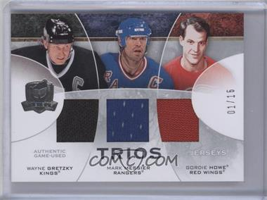 2008-09 Upper Deck The Cup Trios Jerseys #CJ3-GMH - Mark Messier, Gordie Howe, Wayne Gretzky /15