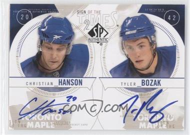 2009-10 SP Authentic - Sign of the Times Dual #ST2-HB - Christian Hanson, Tyler Bozak