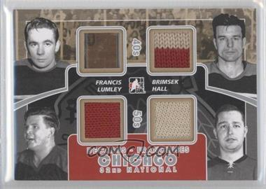 2010-11 In the Game Decades 1980s 32nd National Convention - Franchises Game-Used - Silver #CC-02 - Glenn Hall, Frank Brimsek, Emile Francis, Harry Lumley
