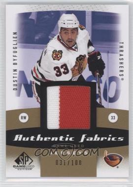 2010-11 SP Game Used Edition - Authentic Fabrics - Gold #AF-DB - Dustin Byfuglien /100