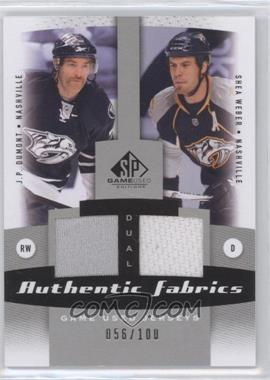 2010-11 SP Game Used Edition Dual Authentic Fabrics #AF2-DW - J.P. Dumont, Shea Weber /100