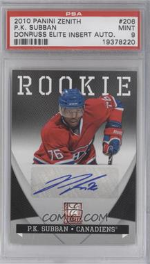 2010-11 Zenith Donruss Elite Autographs Dare to Tear [Autographed] #206 - P.K. Subban /99 [PSA 9]