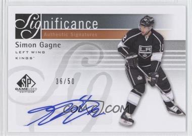 2011-12 SP Game Used Edition - SIGnificance - [Autographed] #SIG-SG - Simon Gagne /50
