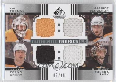 2011-12 SP Game Used Edition Authentic Fabrics Quad #AF4-BOS - Tim Thomas, Patrice Bergeron, Zdeno Chara, Tuukka Rask /10