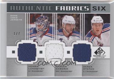 2011-12 SP Game Used Edition Authentic Fabrics Six #AF6NYNY - Henrik Lundqvist, Marian Gaborik, Derek Stepan, John Tavares, Mark Morrison, Kyle Okposo /7