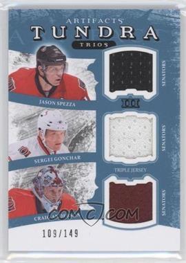 2011-12 Upper Deck Artifacts Tundra Trios Jerseys Blue #TT3-SENS - Jason Spezza, Sergei Gonchar, Craig Anderson /149