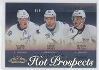 Hot Prospects Trios - Andrej Sustr, Eriah Hayes, Jayson Megna /9