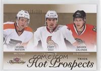 Hot Prospects Trios - Jason Akeson, Cody Ceci, Shawn Lalonde /399