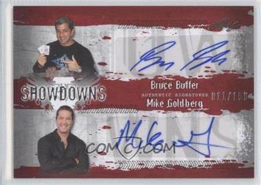 2010 Leaf MMA Showdowns Dual Autographs Red #BB1/MG2 - Bruce Buffer, Mike Goldberg /100