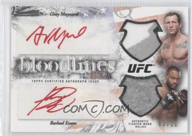 2012 Topps UFC Bloodlines Dual Autogrpahed Relics #BDAR-N/A - Gray Maynard, Rashad Evans /10