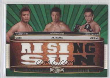 2012 Topps UFC Knockout - Triple Threads Combo Relics - Emerald #TTCR-GAO - Takanori Gomi, Yoshihiro Akiyama, Yushin Okami /15