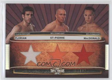 2012 Topps UFC Knockout Triple Threads Combo Relics Sepia #TTCR-FSM - Kenny Florian, Rory MacDonald, Georges St-Pierre /27
