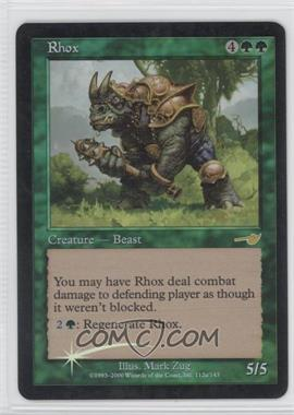 2000 Magic: The Gathering - Nemesis - Booster Pack [Base] - Foil #112A - Rhox
