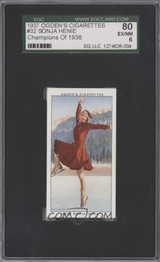 1937 Ogden's Champions of 1936 Tobacco [Base] #32 - Sonja Henie [SGC80]