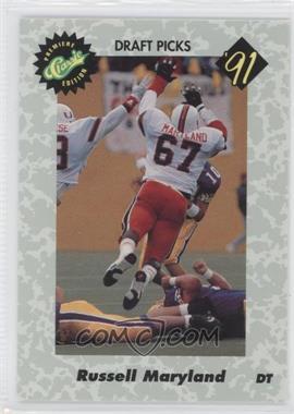 1991 Classic Draft Picks Promos - [Base] - Plain Back #RUMA - Russell Maryland