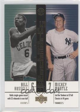 2002-03 Upper Deck UD Superstars BenchMarks #B4 - Bill Russell, Mickey Mantle