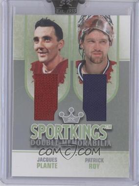 2008 Sportkings Series B Double Memorabilia Silver #DM-03 - Patrick Roy, Jacques Plante