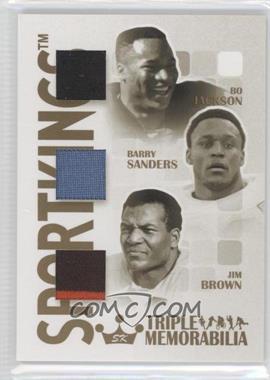 2008 Sportkings Series B Triple Memorabilia Gold #TM-13 - Bo Jackson, Barry Sanders, Jim Brown /10