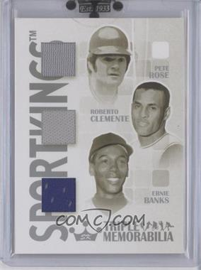 2008 Sportkings Series B Triple Memorabilia Silver #TM-03 - Pete Rose, Roberto Clemente, Ernie Banks