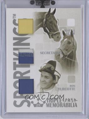 2008 Sportkings Series B Triple Memorabilia Silver #TM-05 - Seattle Slew, Secretariat, Ron Turcotte