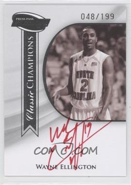 2009 Press Pass Fusion Classic Champions Autographs Silver Red Ink #CCH-WE - Wayne Ellington /199