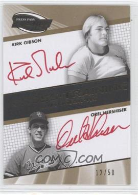 2009 Press Pass Fusion Cross Training Autographs Gold #CTA-KGOH - Kirk Gibson, Kirk Gibson, Orlando Hernandez, Orel Hershiser /50