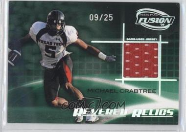 2009 Press Pass Fusion Revered Relics Onyx #RR-MC - Michael Crabtree /25