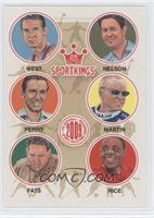 Jerry West, Byron Nelson, Fred Perry, Mark Martin, Minnesota Fats, Jerry Rice
