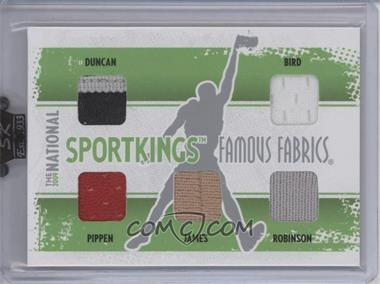 2009 Sportkings Series C 30th National Sportkings Famous Fabrics Redemption Silver #SK-29 - Tim Duncan, Larry Bird, Scottie Pippen, Lebron James, David Robinson /9
