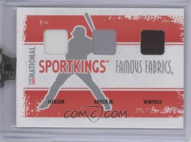 2009 Sportkings Series C 30th National Sportkings Famous Fabrics Redemption Silver #SK-61 - Reggie Jackson, Cal Ripken Jr., Dave Winfield /9