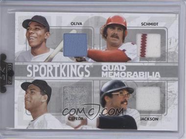 2009 Sportkings Series C Quad Memorabilia #QM-04 - Tony Oliva, Mike Schmidt, Orlando Cepeda, Reggie Jackson