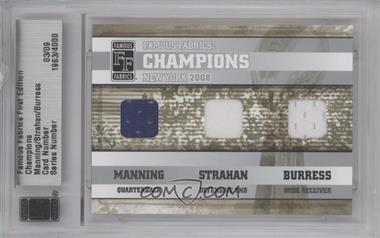 2010 Famous Fabrics First Edition - Champions - Silver #03 - Eli Manning, Michael Strahan, Plaxico Burress /9