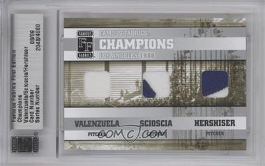 2010 Famous Fabrics First Edition - Champions - Silver #N/A - Fernando Valenzuela, Mike Scioscia, Orel Hershiser /9