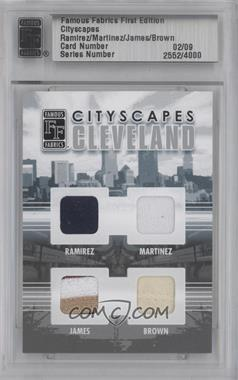 2010 Famous Fabrics First Edition - Cityscapes - Silver #02 - Manny Ramirez, Dennis Martinez, Lebron James, Jim Brown /9