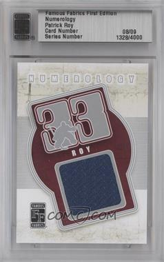 2010 Famous Fabrics First Edition - Numerology - Silver #N/A - Patrick Roy /9