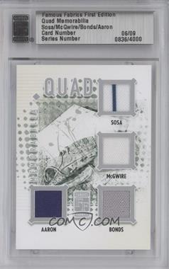 2010 Famous Fabrics First Edition - Quad Memorabilia - Silver #N/A - Sammy Solis, Hank Aaron, Barry Bowden /9
