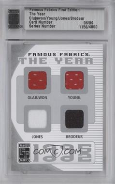 2010 Famous Fabrics First Edition - The Year - Silver #06 - Hakeem Olajuwon, Steve Young, Chipper Jones, Martin Brodeur /9