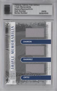 2010 Famous Fabrics First Edition - Triple Memorabilia - Silver #09 - Johnny Damon, Manny Ramirez, David Ortiz /9