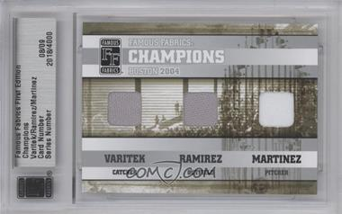 2010 Famous Fabrics First Edition Champions Silver #N/A - Jason Varitek, Manny Ramirez, Pedro Martinez /9