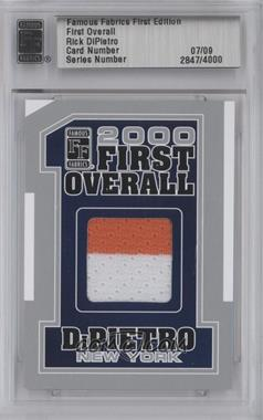 2010 Famous Fabrics First Edition First Overall Silver #RIDI - Rick DiPietro /9