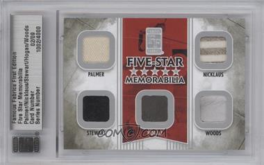 2010 Famous Fabrics First Edition Five-Star Memorabilia Silver #N/A - Arnold Palmer, Jack Nicklaus, Payne Stewart, Ben Hogan, Tiger Woods /9