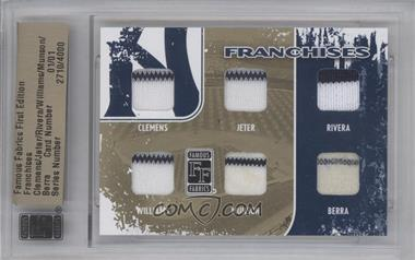 2010 Famous Fabrics First Edition Franchises Gold #NoN - Roger Clemens, Derek Jeter, Mariano Rivera, Bernie Williams, Thurman Munson, Yogi Berra /1