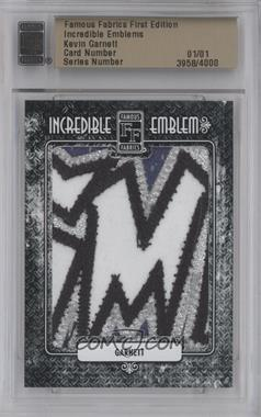 2010 Famous Fabrics First Edition Incredible Emblems #N/A - Kevin Garnett /1