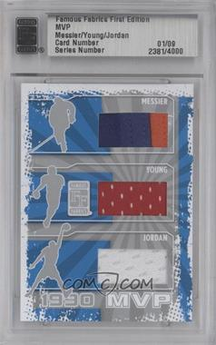 2010 Famous Fabrics First Edition MVP Silver #MYJ - Mark Messier, Steve Young, Michael Jordan /9