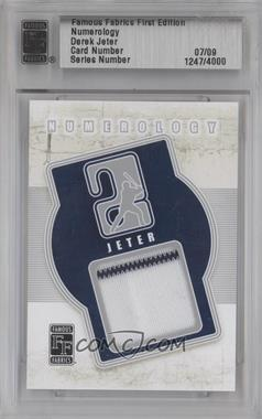 2010 Famous Fabrics First Edition Numerology Silver #N/A - Derek Jeter /9
