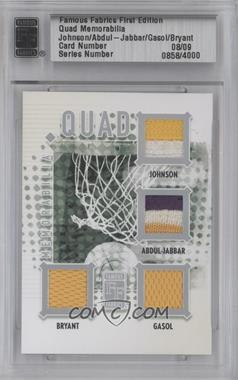 2010 Famous Fabrics First Edition Quad Memorabilia Silver #858 - Magic Johnson, Kareem Abdul-Jabbar, Kobe Bryant, Pau Gasol /9