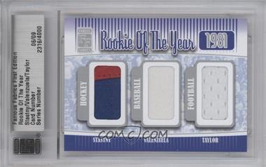 2010 Famous Fabrics First Edition Rookie of the Year Silver #N/A - Peter Stastny, Fernando Valenzuela, Lawrence Taylor /9