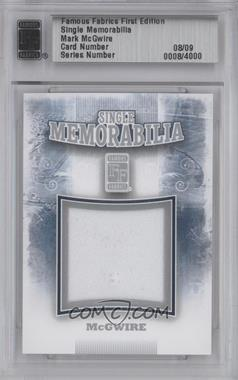 2010 Famous Fabrics First Edition Single Memorabilia Silver #0008 - Mark McGwire /9